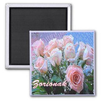Basque Birthday Pink White Roses Art Magnet