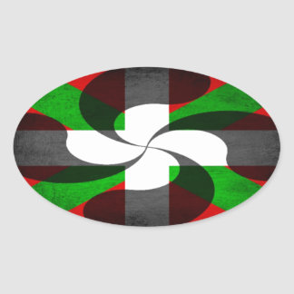 Basque Flag and Cross Oval Sticker
