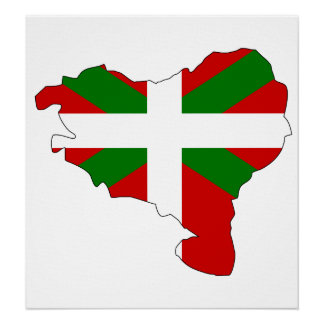 Basque Flag Map full size Posters