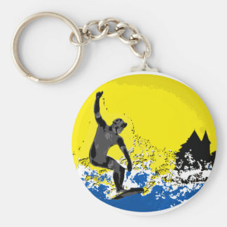 Basque surfer of Biarritz in action Keychain