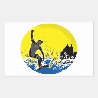 Basque surfer of Biarritz in action Rectangular Sticker