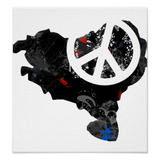 Basque Trendy Peace Sign with Basquan map Posters