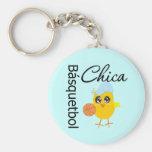 Básquetbol Chica Basic Round Button Keychain