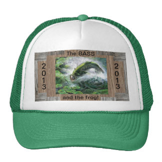 bass and frog fishing cap trucker hat