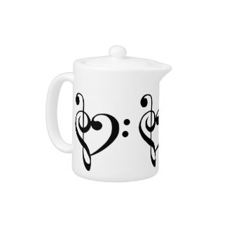 Bass and Treble Clef Heart Teapot