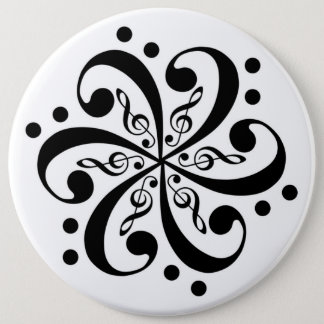 Bass and Treble Clef Swirl Button