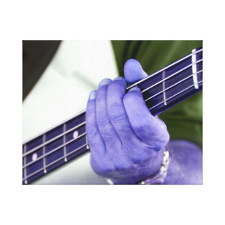 bass blue player hand on neck male photograph stretched canvas print