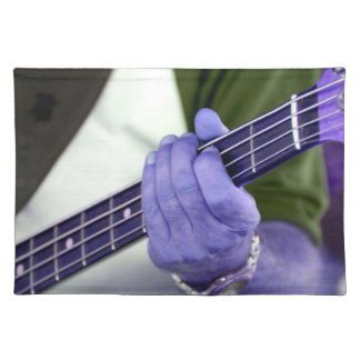 bass blue player hand on neck male photograph cloth placemat