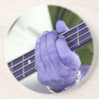 bass blue player hand on neck male photograph beverage coaster