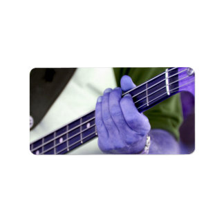bass blue player hand on neck male photograph custom address label