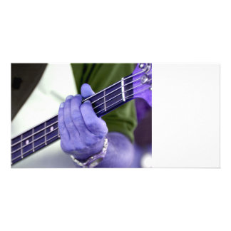bass blue player hand on neck male photograph custom photo card