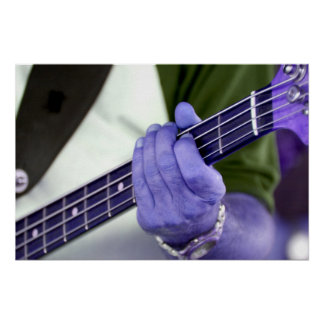 bass blue player hand on neck male photograph poster