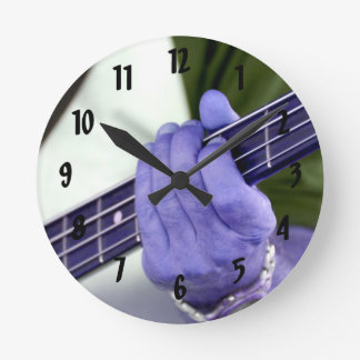 bass blue player hand on neck male photograph round clock