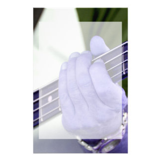 bass blue player hand on neck male photograph stationery