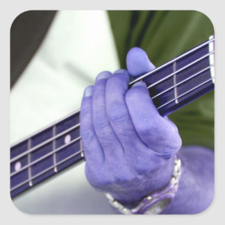 bass blue player hand on neck male photograph square stickers
