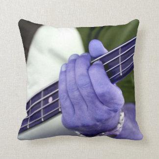bass blue player hand on neck male photograph throw pillow