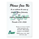 Bass bougie teal outline invitations
