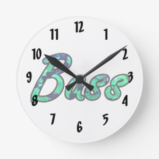 Bass bougie teal outline round clock