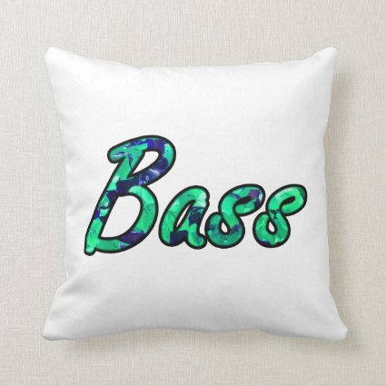 Bass bougie teal outline throw pillows