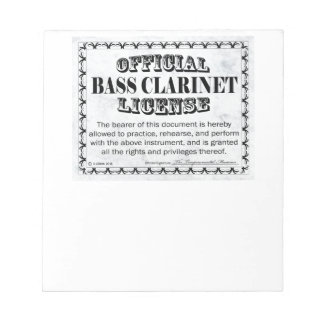 Bass Clarinet License Notepad