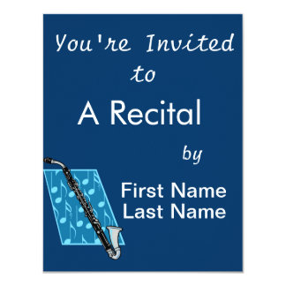 Bass Clarinet with Blue Background and Music Notes Card