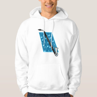 Bass Clarinet with Blue Background and Music Notes Hooded Pullover