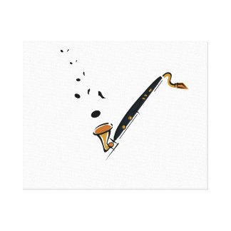 Bass Clarinet with music notes Canvas Print