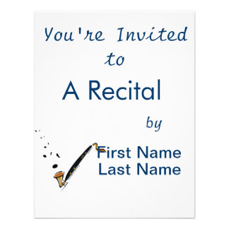 Bass Clarinet with music notes Custom Invite