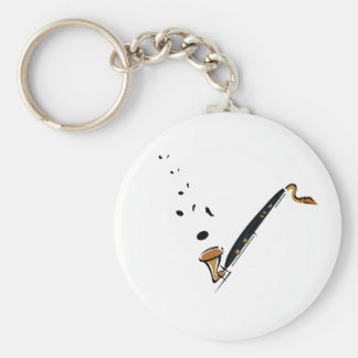 Bass Clarinet with music notes Keychain