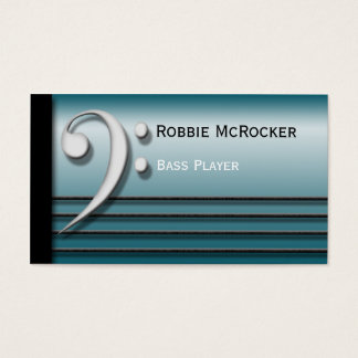 Bass Clef and Strings Blue Business Cards