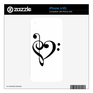 Bass Clef and Treble Clef Heart Decals For The iPhone 4