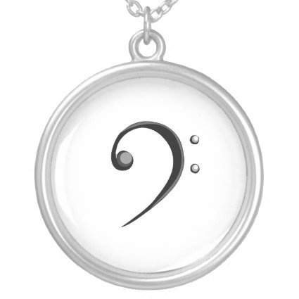Bass Clef Casual Style Black and White Version Necklaces