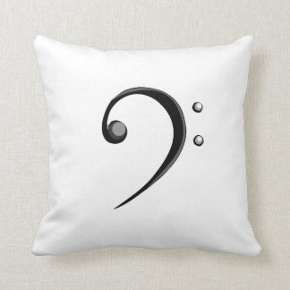 Bass Clef Casual Style Black and White Version Throw Pillow