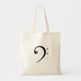Bass Clef Casual Style Black and White Version Tote Bag