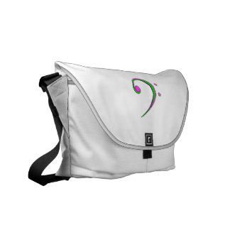 Bass Clef Casual Style Green and Purple Messenger Bags