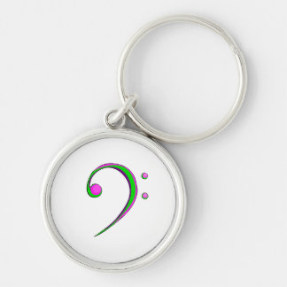 Bass Clef Casual Style Green and Purple Silver-Colored Round Keychain