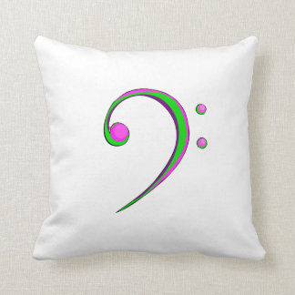 Bass Clef Casual Style Green and Purple Throw Pillow