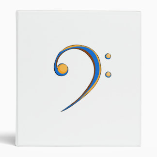 Bass Clef Casual Style Orange and Blue 3 Ring Binders