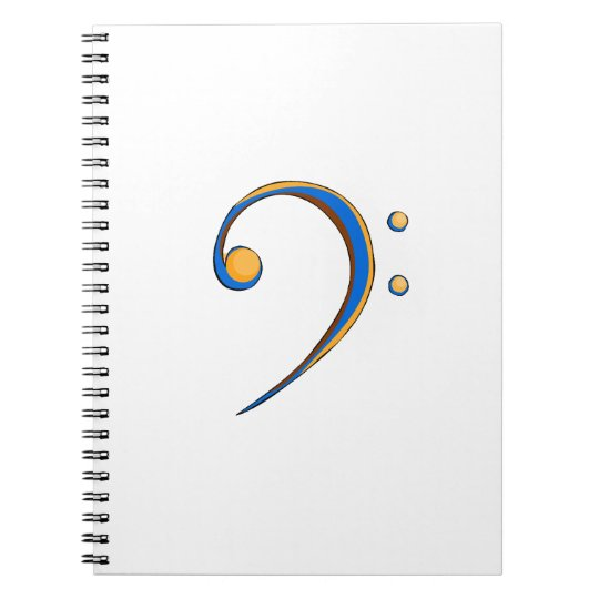 Bass Clef Casual Style Orange and Blue Notebook