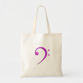 Bass Clef Casual Style Purple Tote Bag