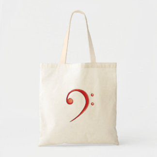Bass Clef Casual Style Red, tenor clef music desig Tote Bag