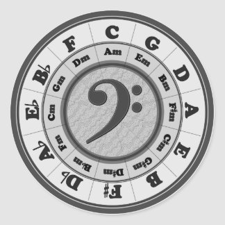 Bass Clef Circle of Fifths Classic Round Sticker