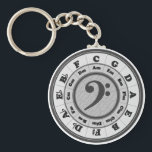 "Bass Clef Circle of Fifths Keychain<br><div class=""desc"">Black and white,  with a bass clef in the center.</div>"