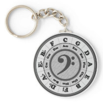 Bass Clef Circle of Fifths Keychain