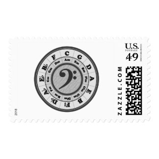 Bass Clef Circle of Fifths Postage Stamp