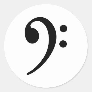 Bass clef classic round sticker