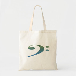 bass clef clouds green blue budget tote bag
