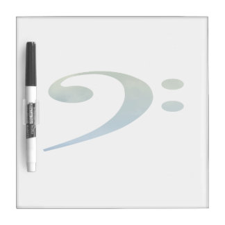bass clef clouds green blue dry erase whiteboard