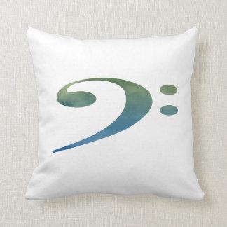 bass clef clouds green blue throw pillow