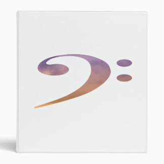 bass clef clouds purple orange 3 ring binders